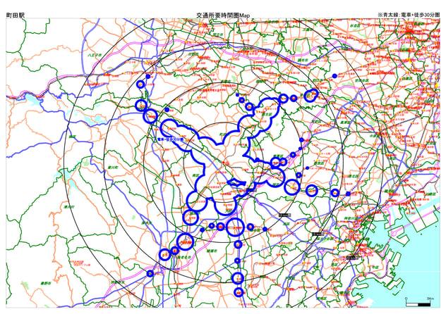町田駅_電車徒歩30分圏Map-1